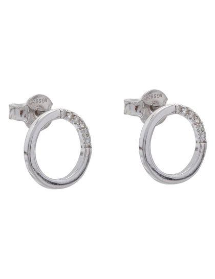 Paved Circle Stud Earrings