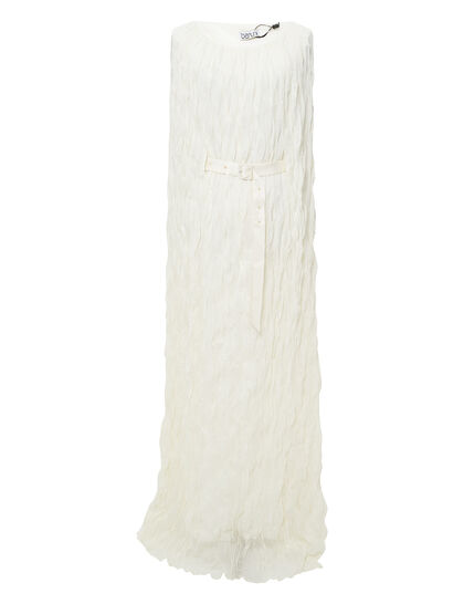 Long Dress Made Of Special Wrinkled Fabric With Dropped Arm-Hole And Detachable Self-Tie Belt