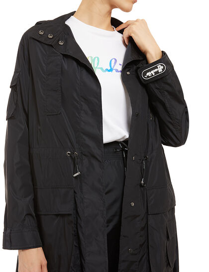 Graphic Hooded Trench Coat