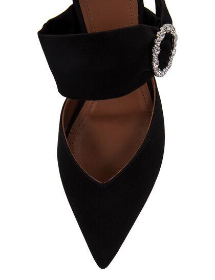 Maite Crystal Buckle Satin Flat Mules - Black