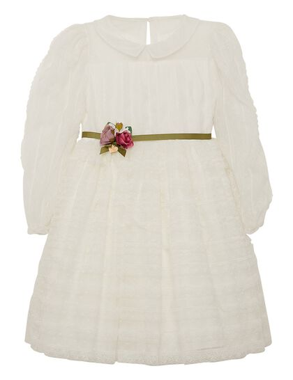 Off White Long Sleeves Lace Girls Dress