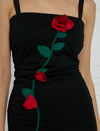 Embroidered Sheath Dress - Black