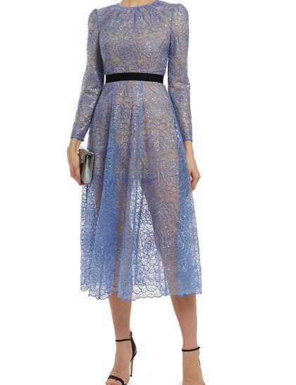 Blue Flower Sequin Midi Dress