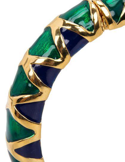 Gold/Green And Lapis Enamel Hinge Bracelet