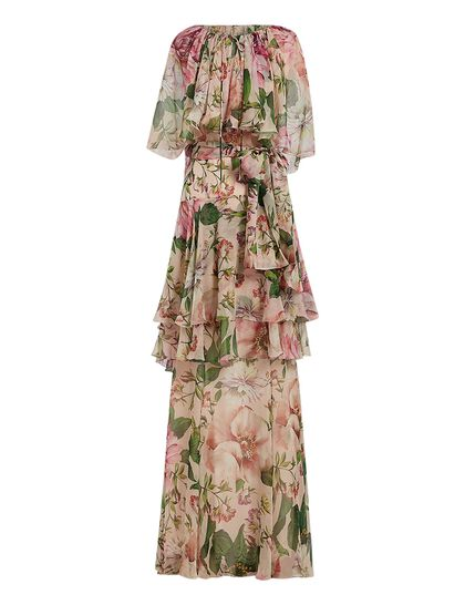 Cape Sleeves Fiori Rosa Chiffon Dress