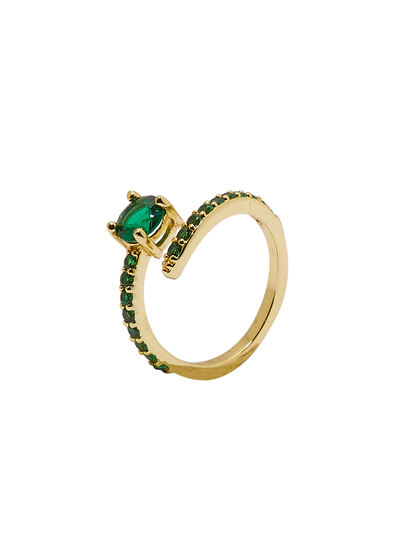 Gold Green Stone Ring