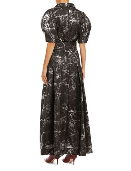 V-Neckline Button-Down Dress Made Of Signature Jacquard Fabric, Exclusive To Baruni