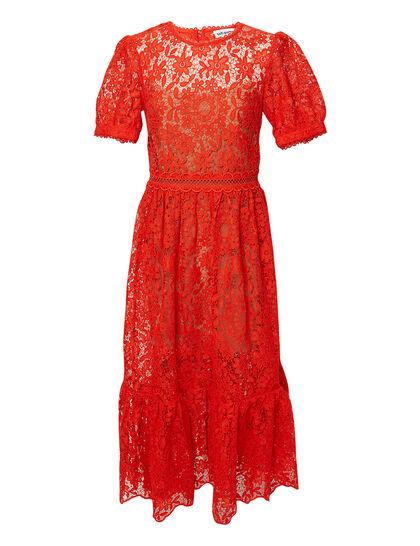 Red Guipure Lace Midi Dress