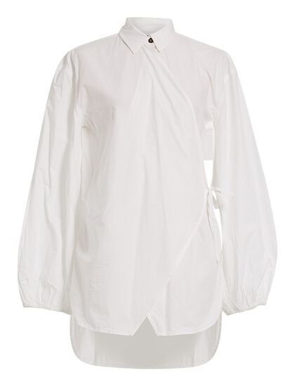 Cotton Wrap Front Shirt