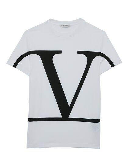 V  Logo Cotton T-shirt