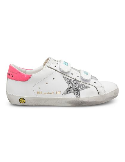 Old School Leather Upper And Heel Glitter Star