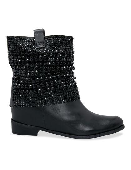 Metal Black Knit Boot