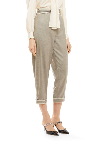Tie-Waist Cropped Trousers