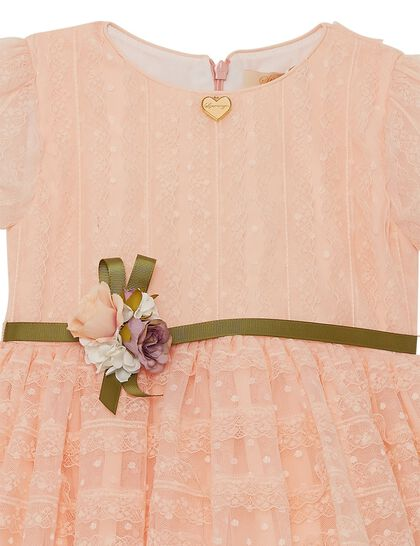 Peach Lace Girls Dress W/ Broach