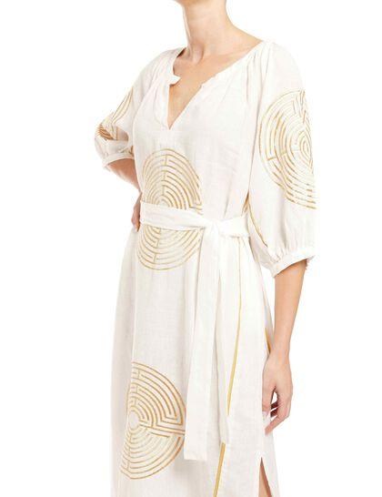 Long Dress Maze Belt 100% Linen, Embroid.Thread 100% Polyster