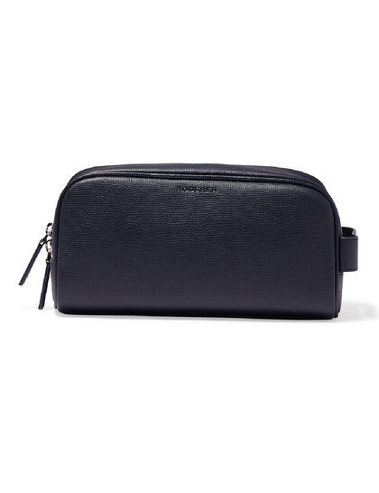 Award Wash Bag – Italian Leather Navy Blue