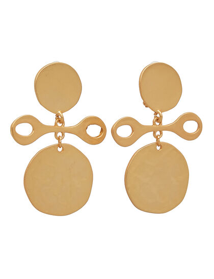 Coin & Ivory Earrings Satin Gold Coin Drop Clip Earring