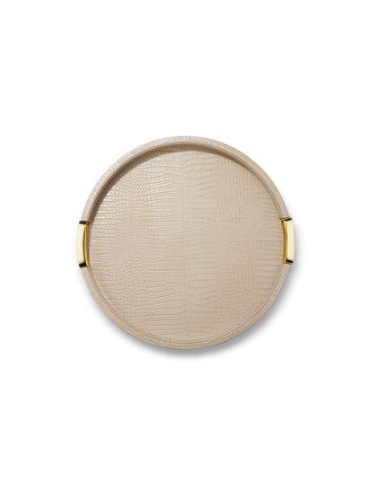 Arn Carina Croc Leather Small Round Tray Fawn