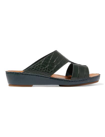 Arabic Sandal Buckle In Genuine Croc Skin In Black