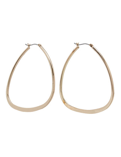 Kjy Polished Gold Triangular Hoop Post Earring