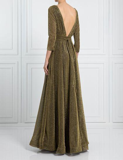 V Cut Shimmery Evening Dress