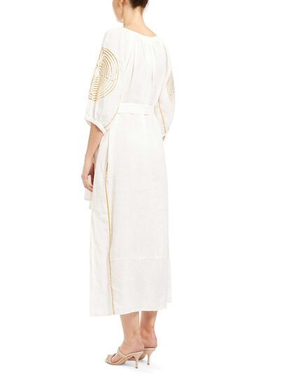 Long Dress Maze Belt 100% Linen, Embroid.Thread 100% Polyster