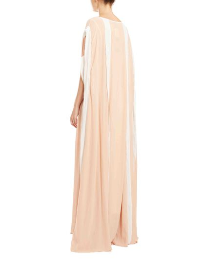 Long Kaftan Made Of Soft Georgette Fabric With Raw-Edge Details And Self-Tie Detachable Belt. Separate Jersey Lining.