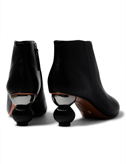 Sculptural Heel Leather Boots
