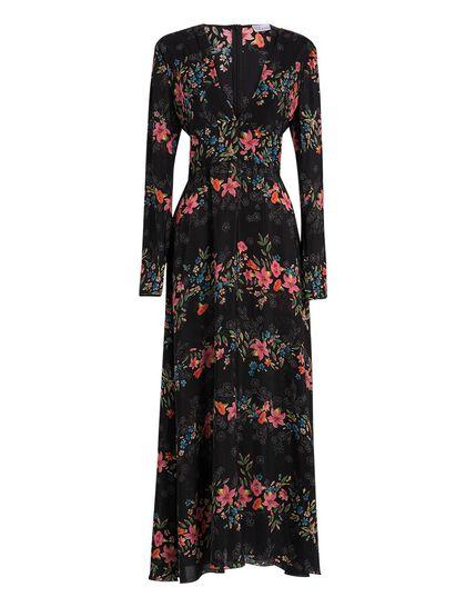 Long Sleeves Floral Flounces Silk De Crepe Dress