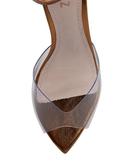 Amy Mid Heel Bronze Vinyl Sandal
