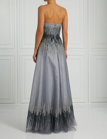 Strapless Degrade Beads Gown