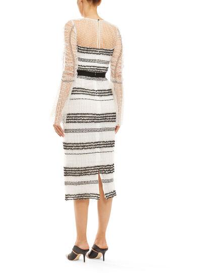 Contrast Mesh Midi Dress