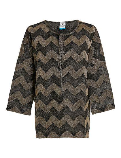 Long Sleeves Jersey Classic Lurex Zigzag Top
