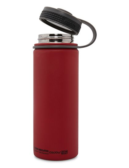 Asobu Alpine Flask Red, Double Wall Stainless Stell Hot And Cold Water Bottle