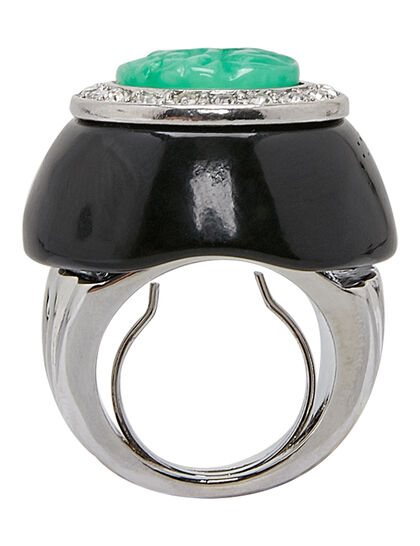 Kjy Silver/Crystal Setting Black Base And Jade Center Ring