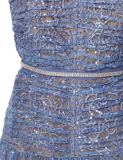 Embroidered Sequin Strapless Midi Dress