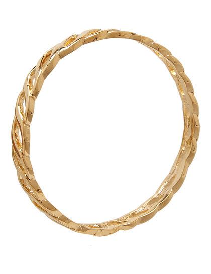 Links Bracelets Polished Gold Twisted Link Bangle