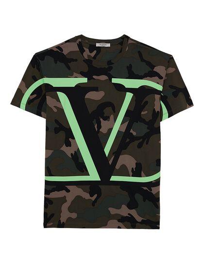 Tshirt V Lock Camou Green Fluo