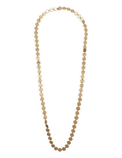Kjy 36 1 Row Satin Gold Slip On Coin Necklace