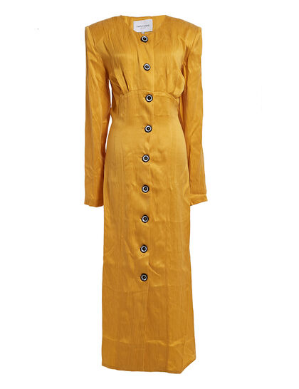 Buttondown Silky Dress Yellow Button-Down Cupro Dress In A Flattering Slim-Fit Silhouette
