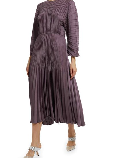 Pleated Dolman Slv Dress