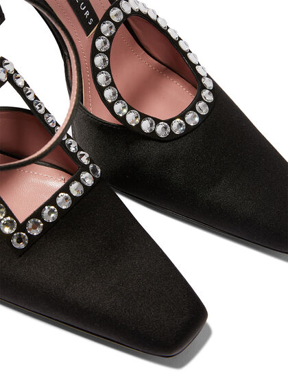 Maxi Aster Sling Back With Upper In Satin With Crystal (Square And Circle)