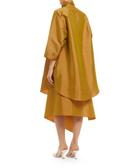 Light Taffetah Oversize Shirt With Botton Neck With Overall Lab Skirt Big Pocket On The Side