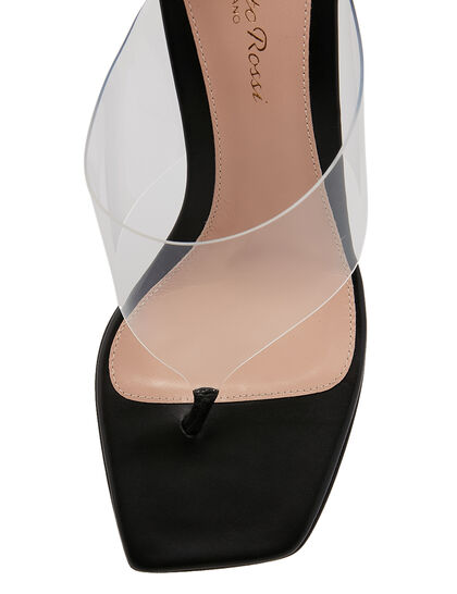 Lotus 70 Plexi Leather Sandals - Black