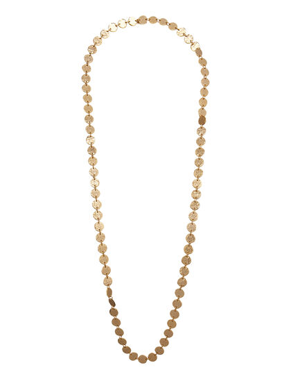 Kjy 36 1 Row Satin Gold Slip On Coin Necklace