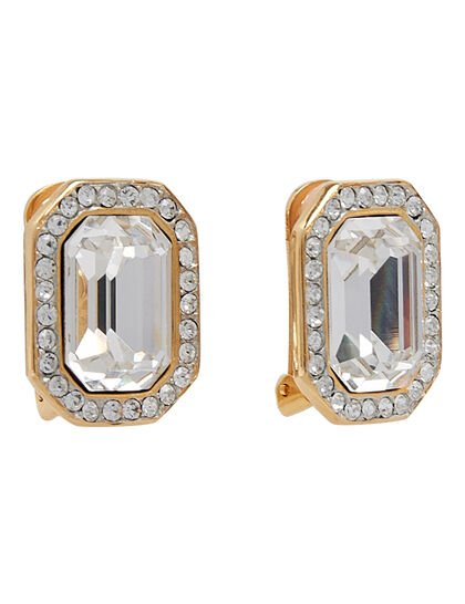 Kjy Gold W/Crystal Trim With Crystal Center Rectangle Button Clip Ear