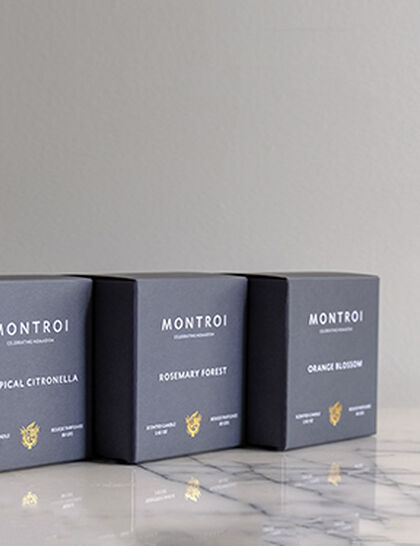 Montroi Candle Set Of 3 - Orange Blossom, Rosemary Forest, Tropical Citronella