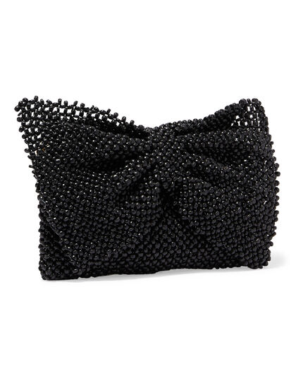Bow Structured Wood Bead Clutch With Flap And Zippered Compartment