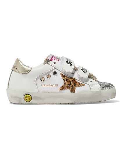 Old School Canvas And Leather Upper Glitter Toe Leo Horsy Star Laminated Heel
