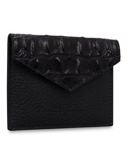 Card Holder With Printed Crocodile Flap In Blue
